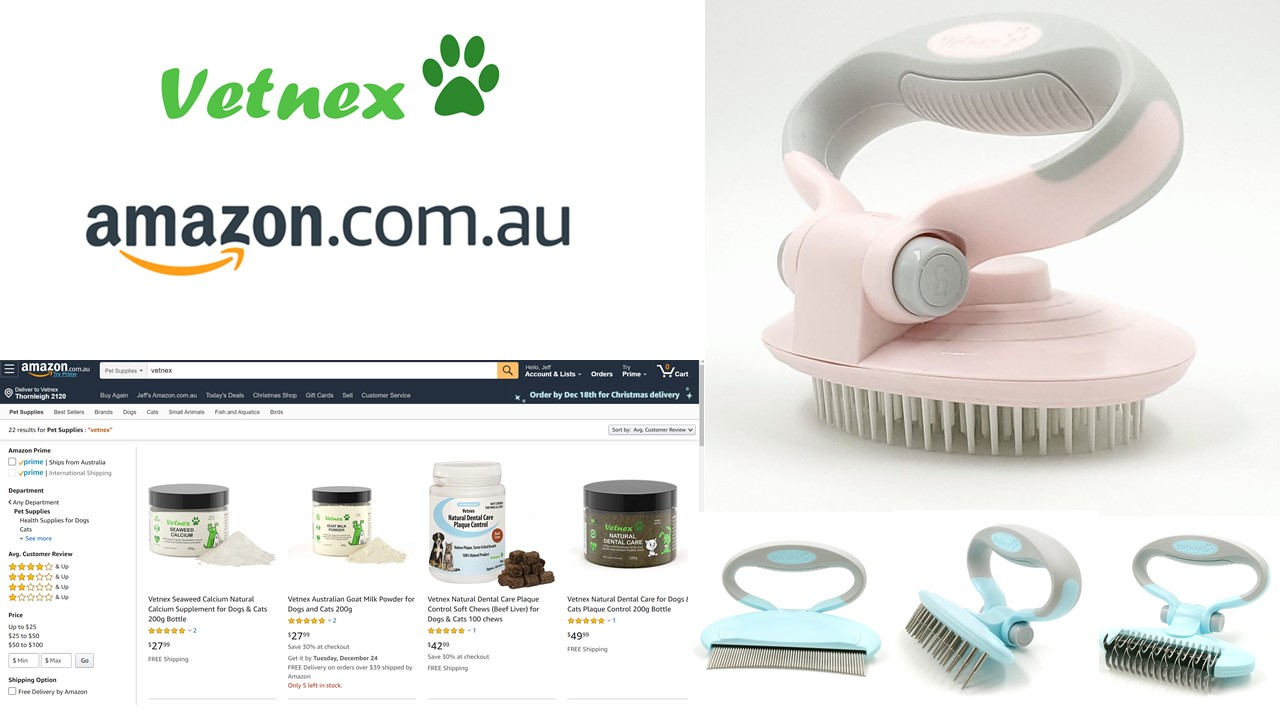 Amazon Xmas Special - Buy Selected Vetnex Supplements or Grooming Products Get Soft Pin Brush + Free Delivery