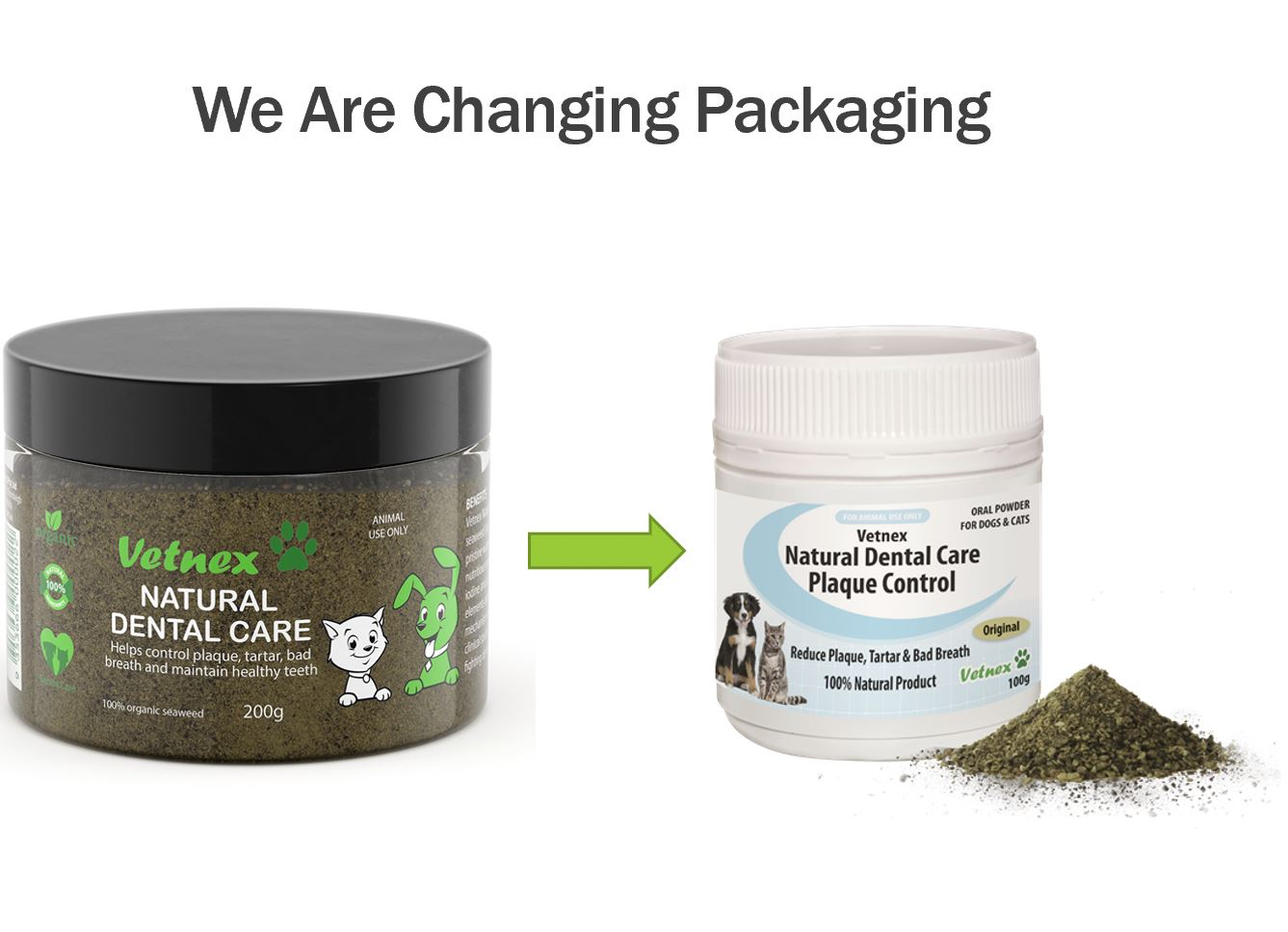 Vetnex Natural Dental Care Plaque Control 200g (Dental Powder) is Changing Packaging