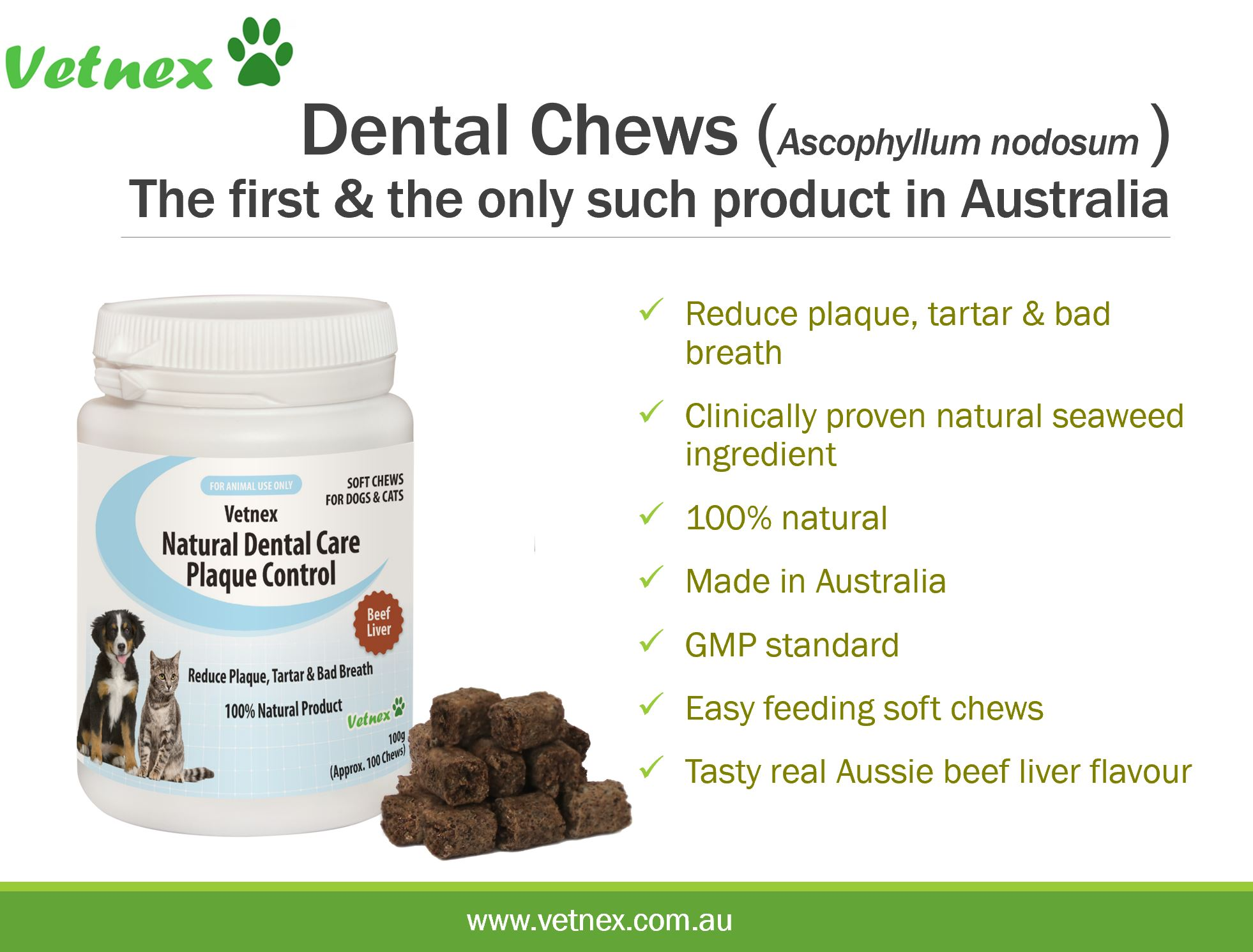 Vetnex Natural Dental Care Plaque Control Soft Chews, The First & The Only Such Product Available in Australia